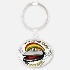 Bearded Clam Guy, Round Oval Keychain