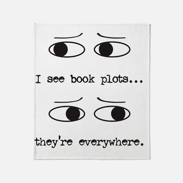 I see book plots... (black) Throw Blanket