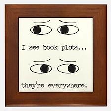 I see book plots... (black) Framed Tile