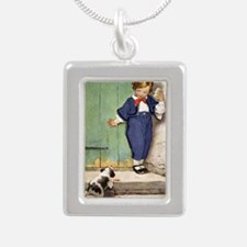 A Childs Book - puppy ne Silver Portrait Necklace