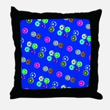 Blue Hello Soccer Football Fiesta Throw Pillow
