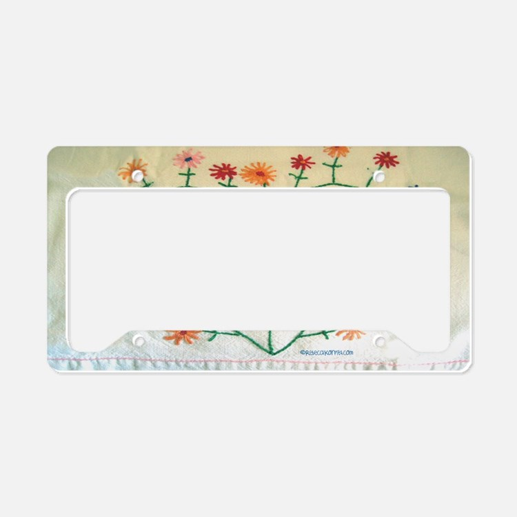 Embroidered Heart and Flowers License Plate Holder