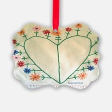 Embroidered Heart and Flowers Sho Ornament