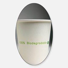 Biodegradable cup Sticker (Oval)