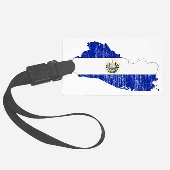 El Salvador Flag and Map Aged Luggage Tag