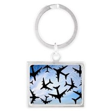 Air traffic, conceptual image Landscape Keychain