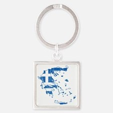 Greece Flag and Map Aged Square Keychain