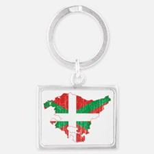 Basque Community Flag and Map A Landscape Keychain