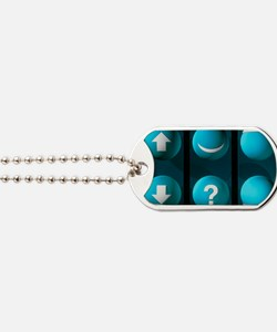 Artwork of the six types of quark Dog Tags
