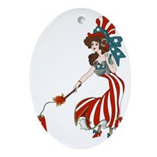Miss 4th of July Oval Ornament