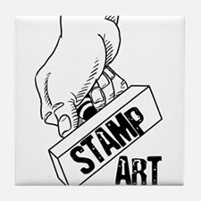 Rubber Stamp Art Tile Coaster