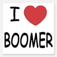 "I heart BOOMER Square Car Magnet 3"" x 3"""