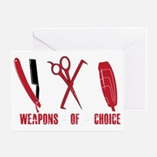 Barber Red Tools of the Trade Dk shi Greeting Card