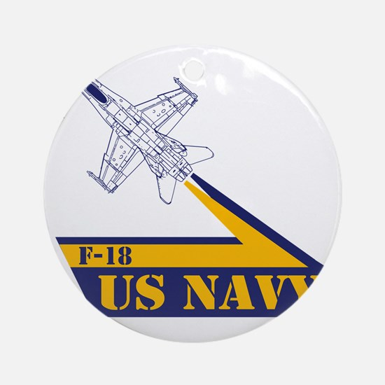 US NAVY Hornet F-18 Round Ornament