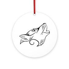 Black Howling Wolf Tribal Tattoo Round Ornament