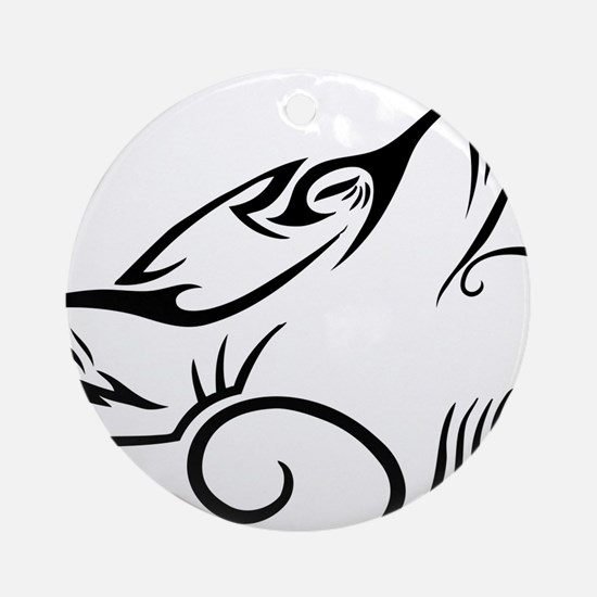 Black Howling Wolf Tribal Tattoo Round Ornament