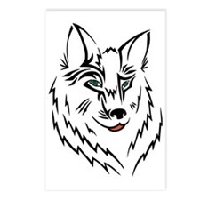 Black Wolf Tribal Tattoo Postcards (Package of 8)