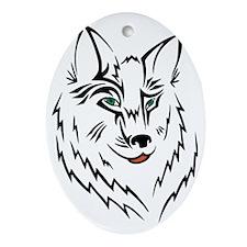 Black Wolf Tribal Tattoo Oval Ornament