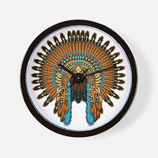 Native War Bonnet 08 Wall Clock