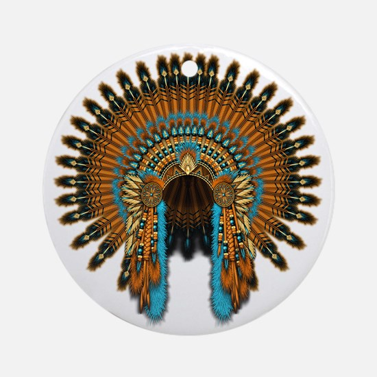Native War Bonnet 08 Round Ornament