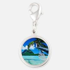 Beach Silver Round Charm