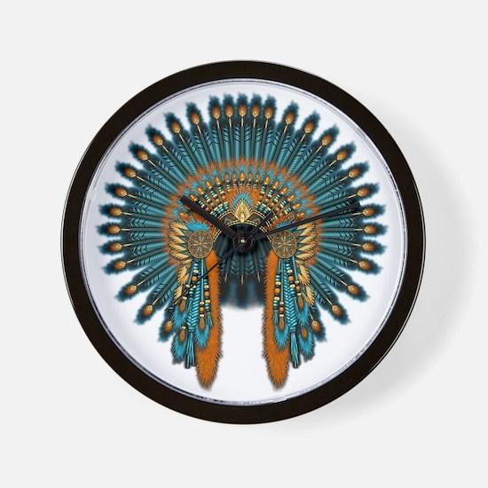Native War Bonnet 07 Wall Clock
