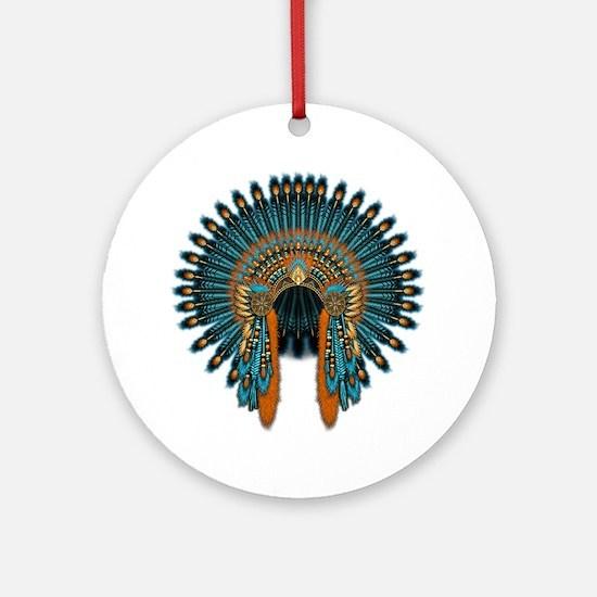 Native War Bonnet 07 Round Ornament