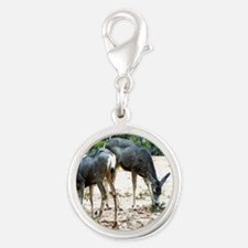 White-Tail Deer Family Silver Round Charm