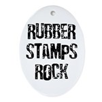Rubber Stamps Rock Oval Ornament