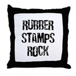 Rubber Stamps Rock Throw Pillow