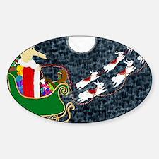 Santa Dachshund Balloon Sticker (Oval)