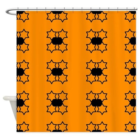 Orange And Black Star Pattern Shower Curtain By ColorfulPatterns