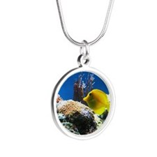Yellow fish Silver Round Necklace