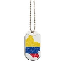 Colombia Flag and Map Cracked Dog Tags