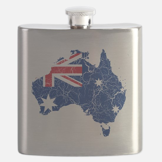Australia Flag and Map Cracked Flask