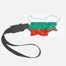 Bulgaria Flag and Map Cracked Luggage Tag