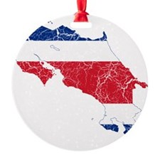 Costa Rica Flag and Map Cracked Ornament