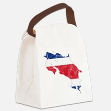 Costa Rica Flag and Map Cracked Canvas Lunch Bag