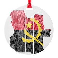 Angola Flag and Map Wood Ornament