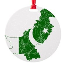 Pakistan Flag and Map Cracked Ornament