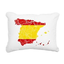 Silhouet Spainwith Flag  Rectangular Canvas Pillow