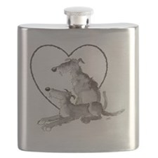 Scottish Deerhounds in Heart Flask