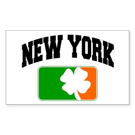 New York Shamrock Rectangle Sticker