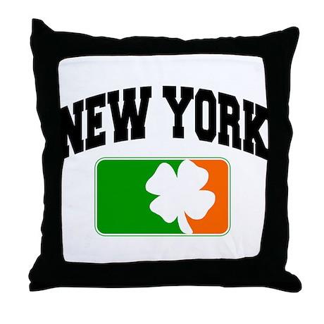 New York Shamrock Throw Pillow