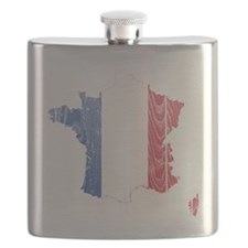 France Flag and Map Wood Flask