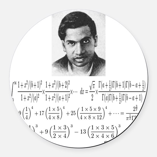 ramanujan and his equations Round Car Magnet