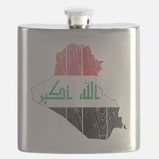 Iraq Flag and Map Wood Flask