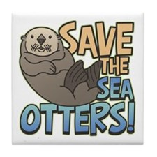 Save Sea Otters Tile Coaster