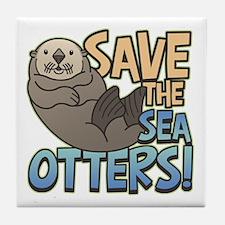 Save Sea Otters Tile Coaster