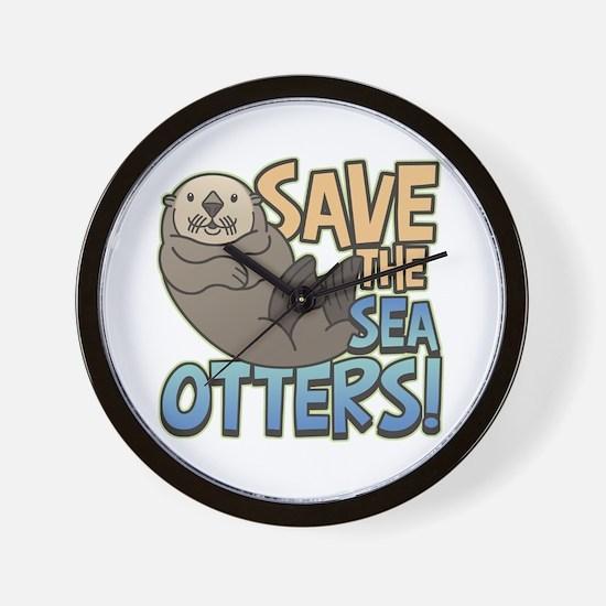 Save Sea Otters Wall Clock